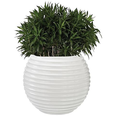 """Jaya Gloss White 19"""" Wide Bamboo Tuft Planter"""