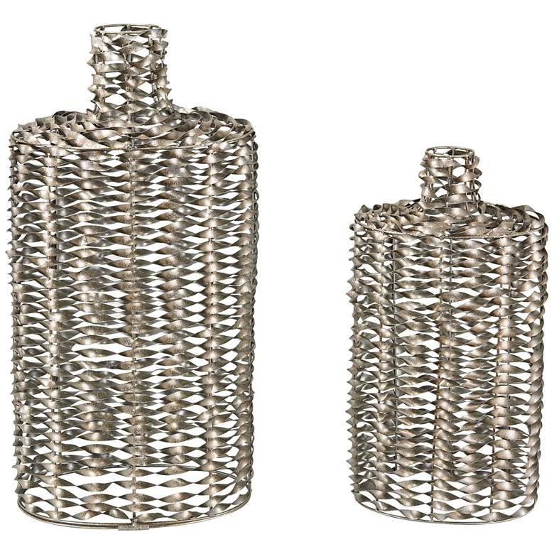 Zephyr Silver Twisted Wire Decorative Bottles - Set of 2