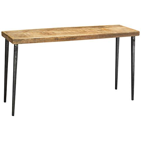 Jamie Young Farmhouse Natural Wood Top Iron Console Table