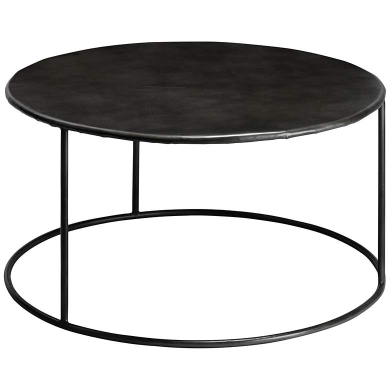 "Americana 32"" Wide Round Iron Coffee Table by Jamie Young"