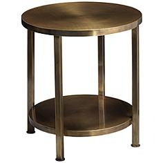 Jamie Young Alloy Antique Brass Round Side Table