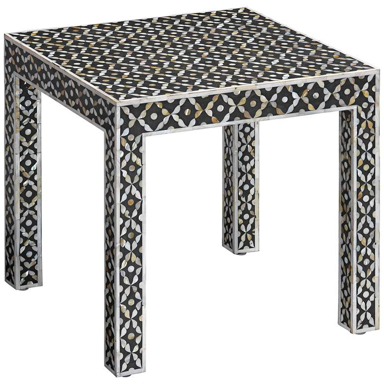 "Evelyn 18"" Wide Gray and White Mother of Pearl Side Table"