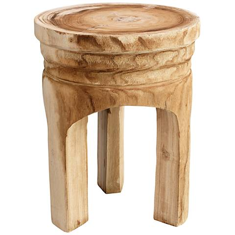 "Jamie Young Mesa 17"" Natural Round Wooden Accent Stool"