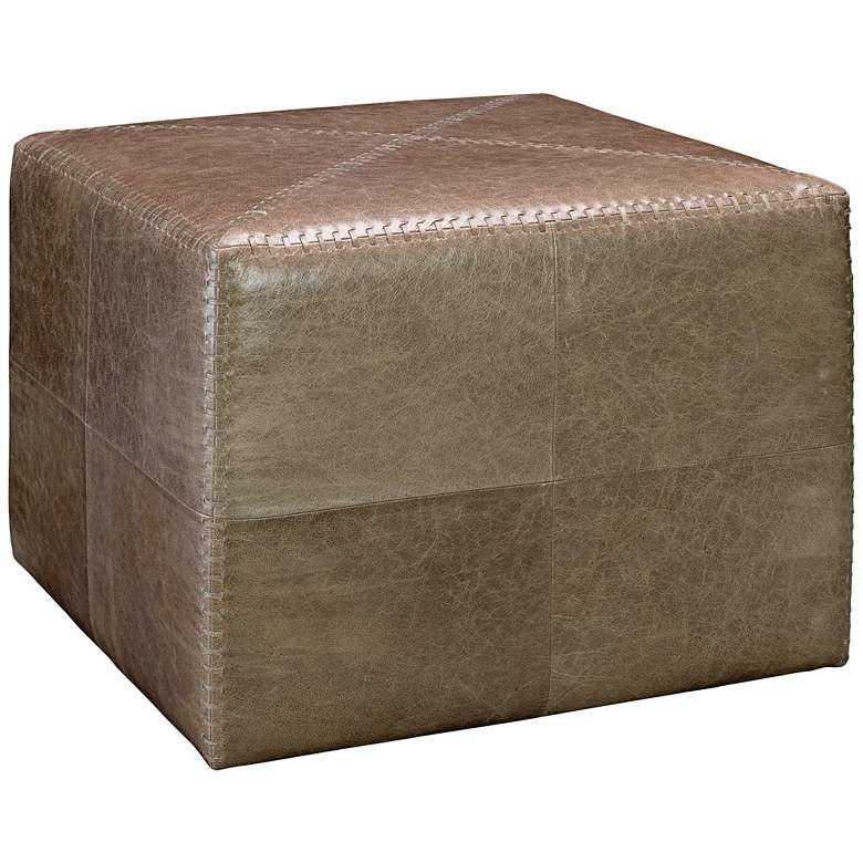 Jamie Young Leah Taupe Leather Large Ottoman