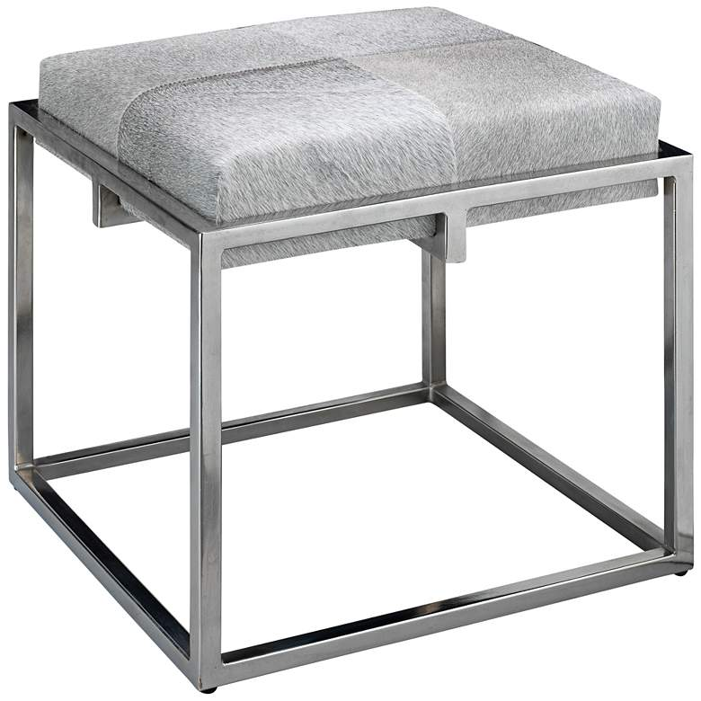 """Jamie Young Shelby 18"""" Gray Hide and Nickel Accent Stool"""