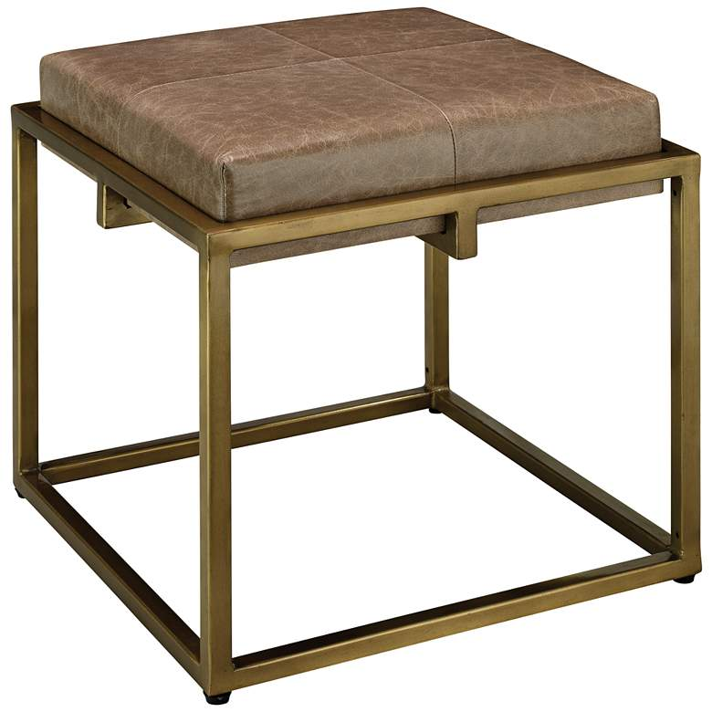 """Jamie Young Shelby 18"""" Taupe Leather and Nickel Accent Stool"""
