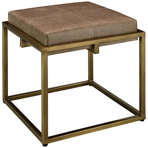"Jamie Young Shelby 18"" Taupe Leather and Nickel Accent Stool"