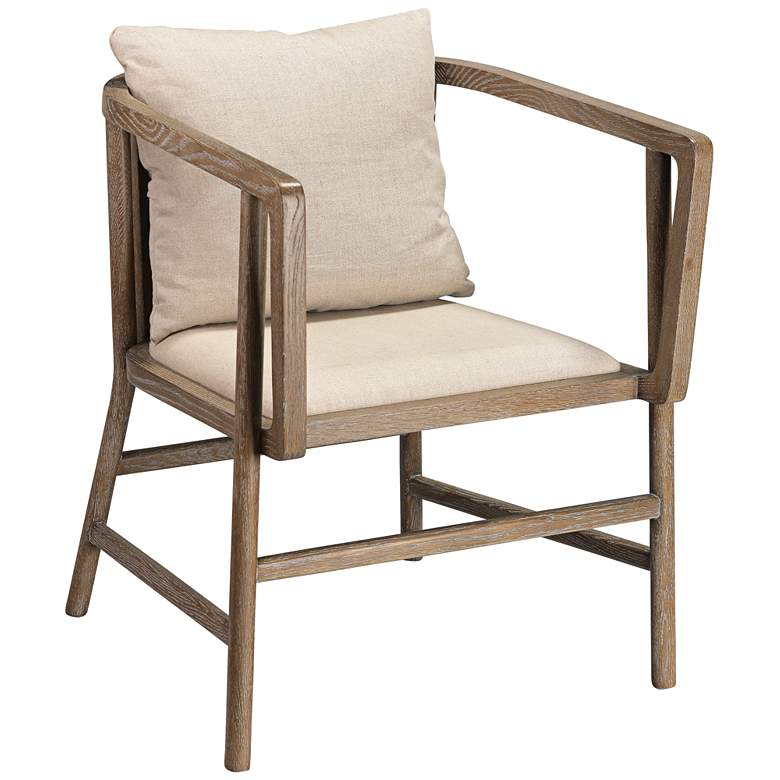 Jamie Young Grayson Gray Wood and Off-White Linen