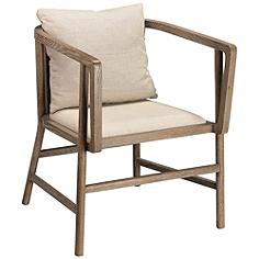 Jamie Young Grayson Gray Wood and Off-White Linen Armchair