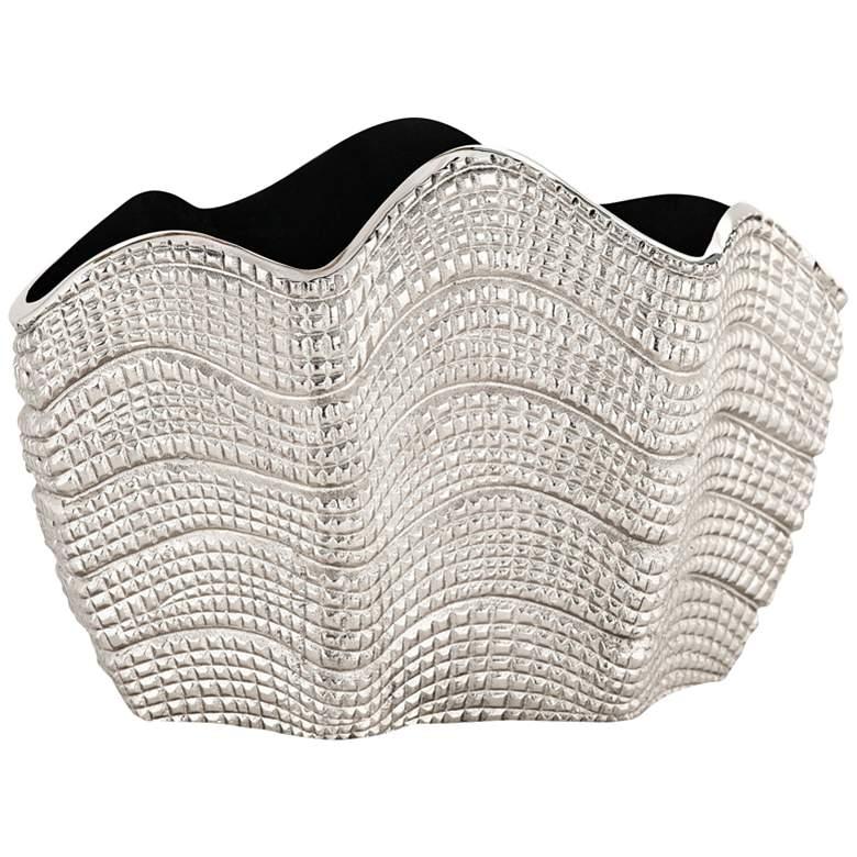 "Swells Nickel Aluminum 15"" Wide Vase"
