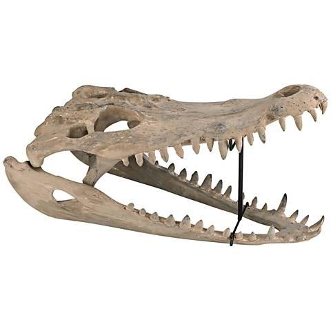 "Cretaceous 22"" Wide Aged Bone Gator Skull Figurine"