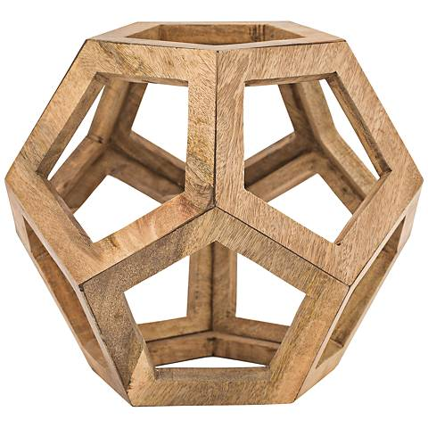 "Highland 15"" High Mango Wooden Honeycomb Orb Sculpture"