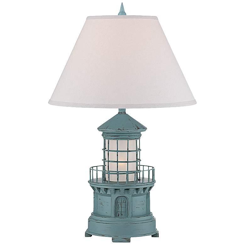 Nolensville Lighthouse Sky Blue Night Light Table Lamp