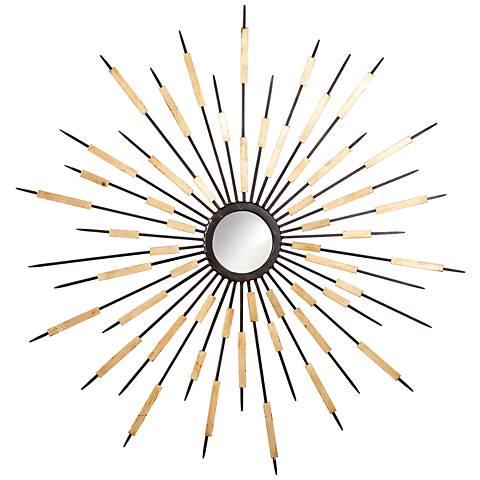 """Zenith Old World and Gold Sunburst 37 3/4"""" Round Wall Mirror"""