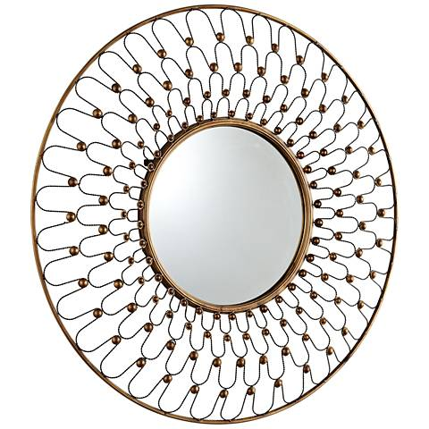 "Cyan Design Cordova Gold 36"" Round Wall Mirror"