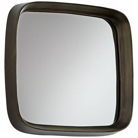 """Square'd Vintage Brass 13 3/4"""" Square Wall Mirror"""