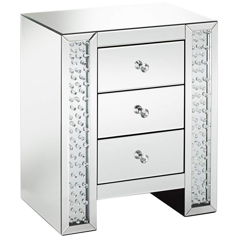 """Fostoria 22 1/4"""" Wide Mirrored 3-Drawer Accent Table"""