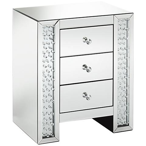Fostoria Silver Mirrored Crystals 3-Drawer Accent Table