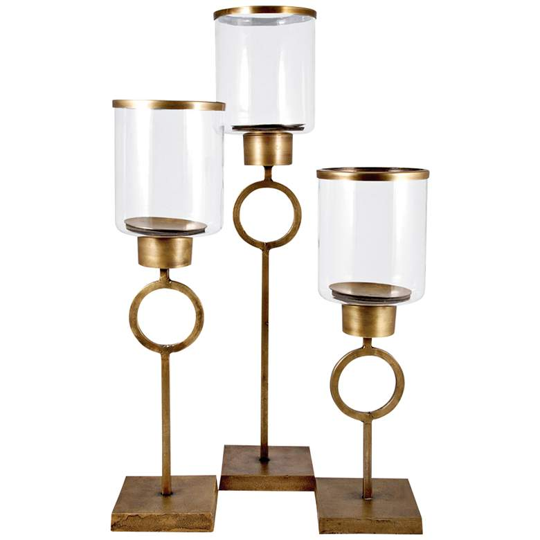 Bangle Antique Brass Clear 3-Piece Pillar Candle Holder Set