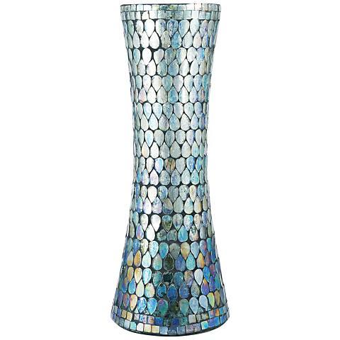 "Ambia Aqua Shimmer Mosaic 15 1/2"" High Glass Vase"