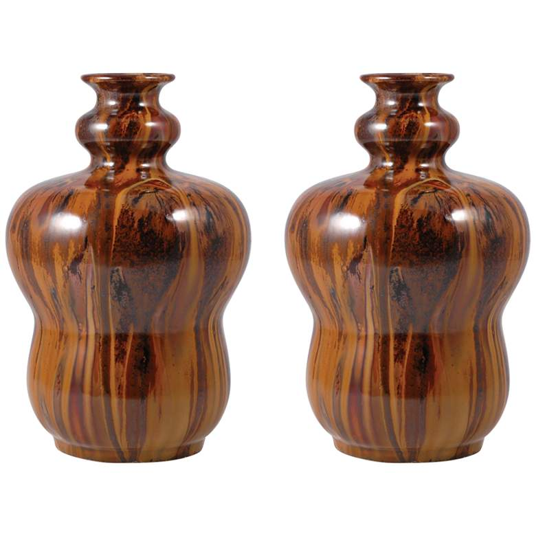 "Montana 10"" High Wood Grain Ceramic Vases - Set of 2"