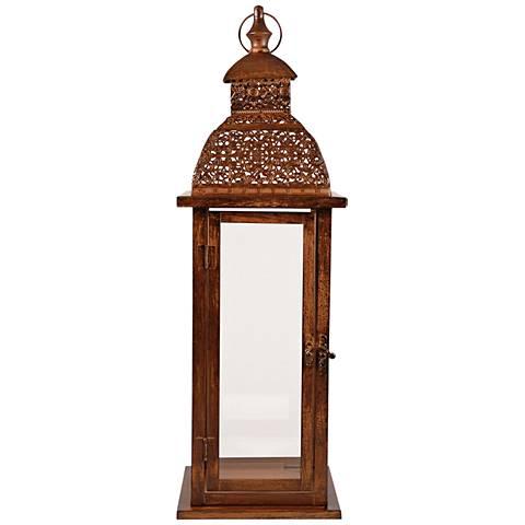 Vineyard Glass Antique Brown Lantern Pillar Candle Holder