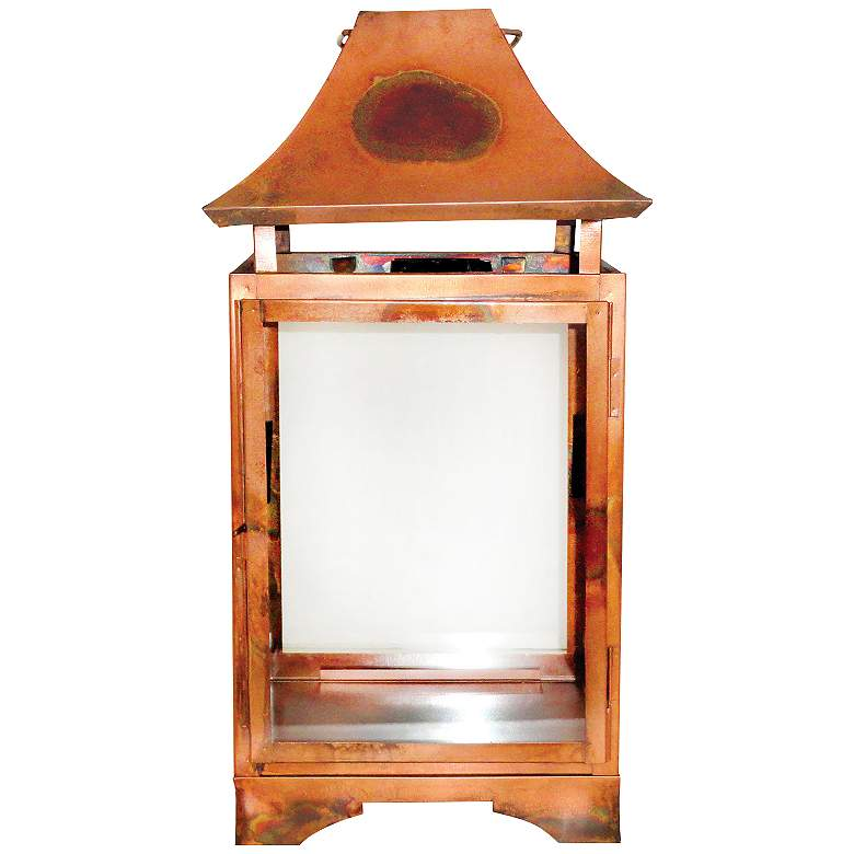 Bali Burned Copper Clear Large Lantern Pillar Candle
