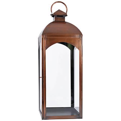 Cooperstown Antique Copper Lantern Pillar Candle Holder