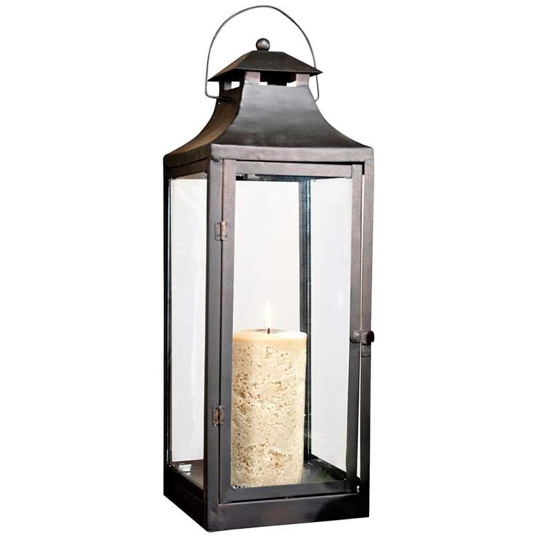 Corillian Rustic and Clear Lantern Pillar Candle Holder