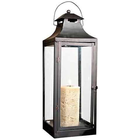 Corillian Rustic and Clear Lantern Pillar Candle Holder