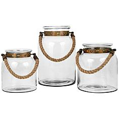 Calico Copper Clear 3-Piece Lantern Pillar Candle Holder Set