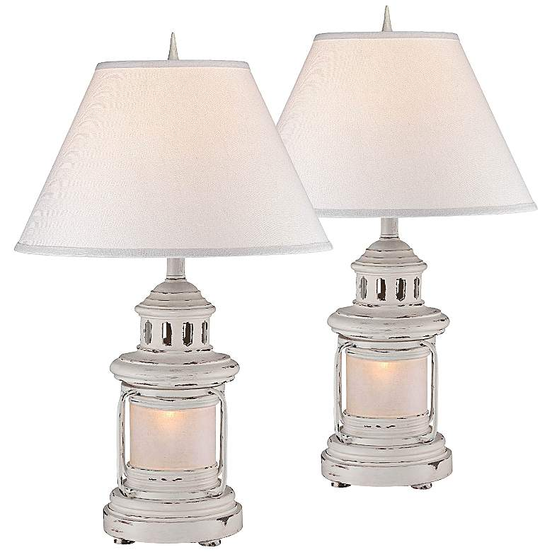 Weathered Lantern Night Light Table Lamps Set Of 2