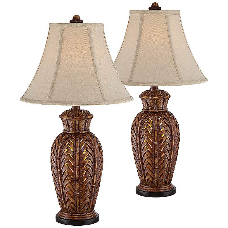 Maroa Wicker Night Light Table Lamp Set of