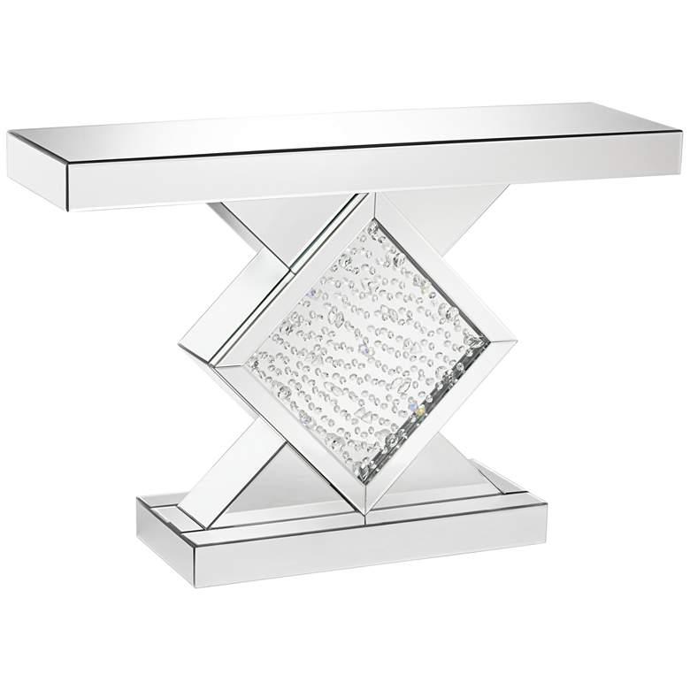 "Fostoria 46 1/2"" Wide Silver-Mirror Crystal Console Table"