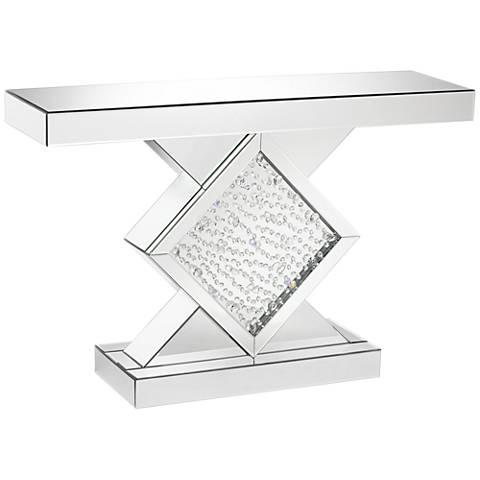 "Fostoria Silver-Mirror 46 1/2"" Wide Crystal Console Table"