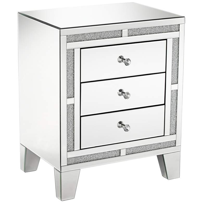 """Aretha 22"""" Wide Crystal Beads 3-Drawer Mirrored Side Table"""