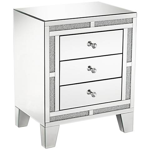 Aretha Crystal Beads 3-Drawer Mirrored Side Table