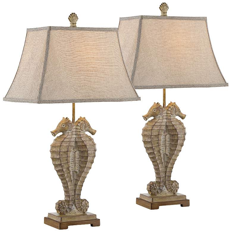 Seahorse Coastal Style Table Lamps Set of 2