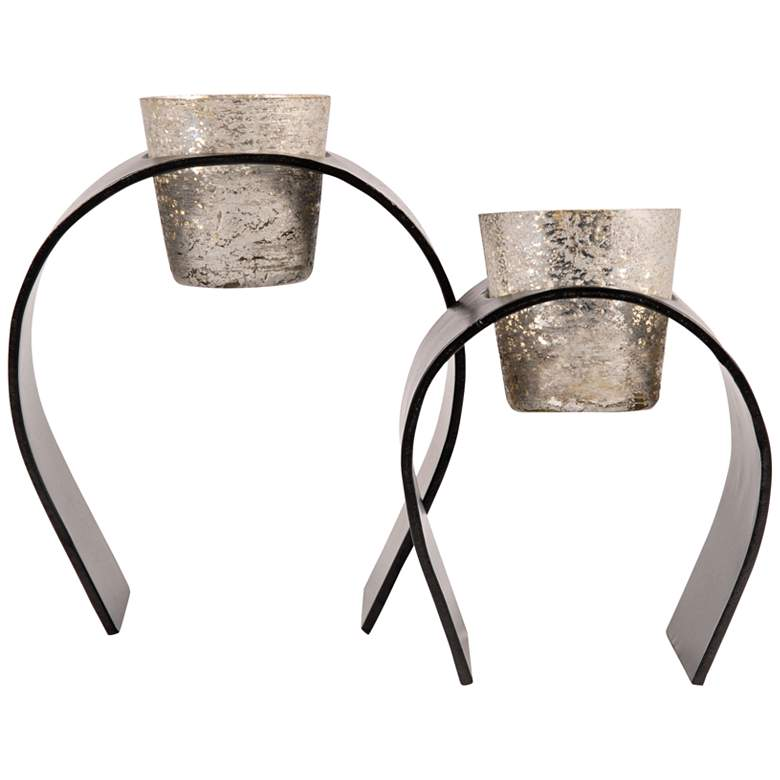 Equis Black and Silver 2-Piece Votive Candle Holder Set