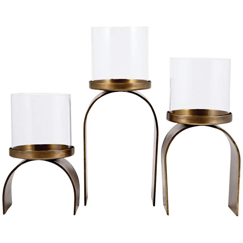Arch Antique Brass Clear Pillar Candle Holders 3-Piece Set
