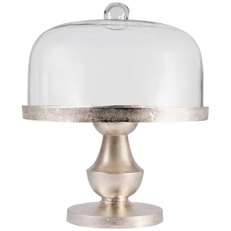 "Solis 12 3/4"" Wide Light Bronze with Glass Dome Cake Stand"