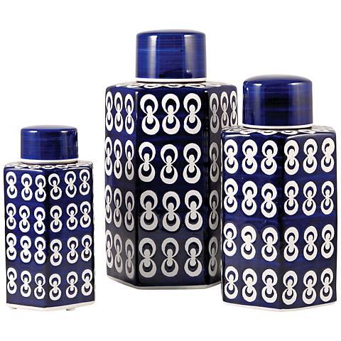 Cupola Dark Navy and White Ceramic Jar Set of 3