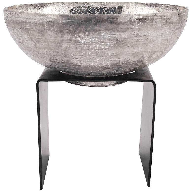 """Equis 11 3/4"""" Rustic and Antique Silver Artifact Glass Bowl"""