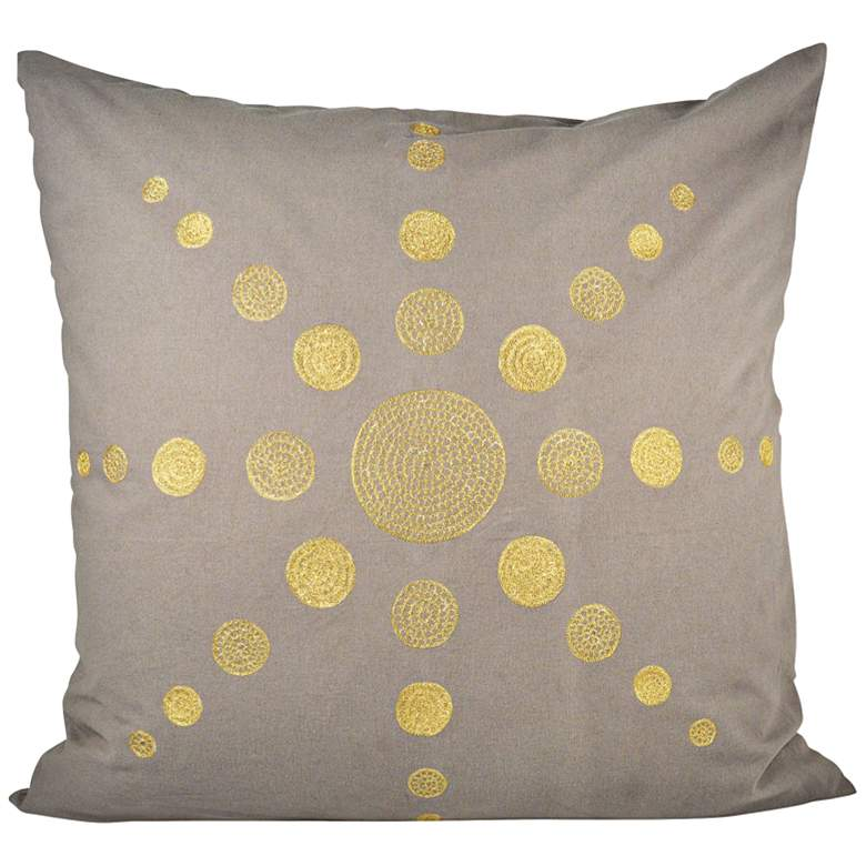 """Andor Chateau Gray and Gold 24"""" Square Decorative Pillow"""