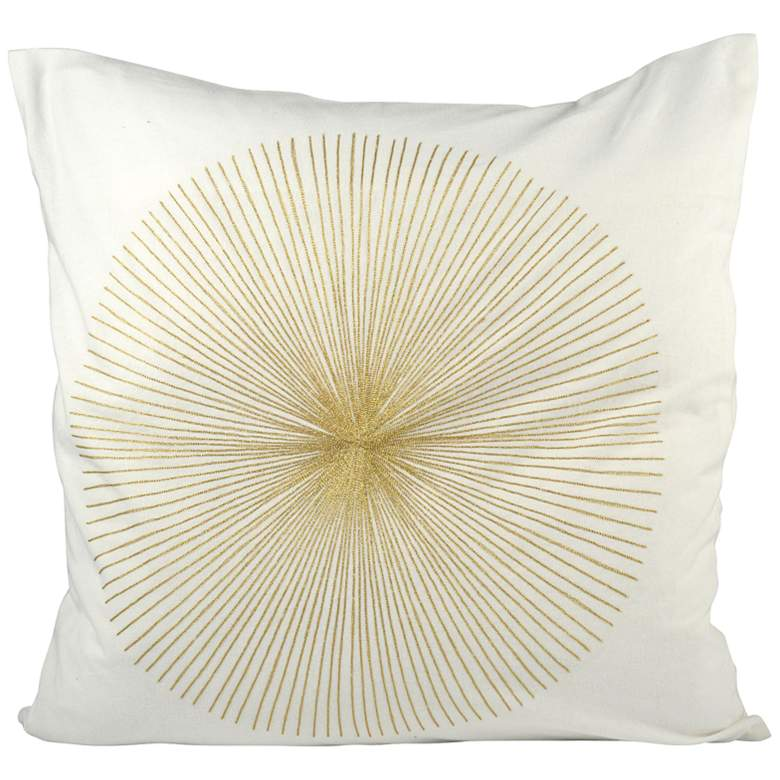 "Centra Snow and Gold 20"" Square Decorative Pillow"