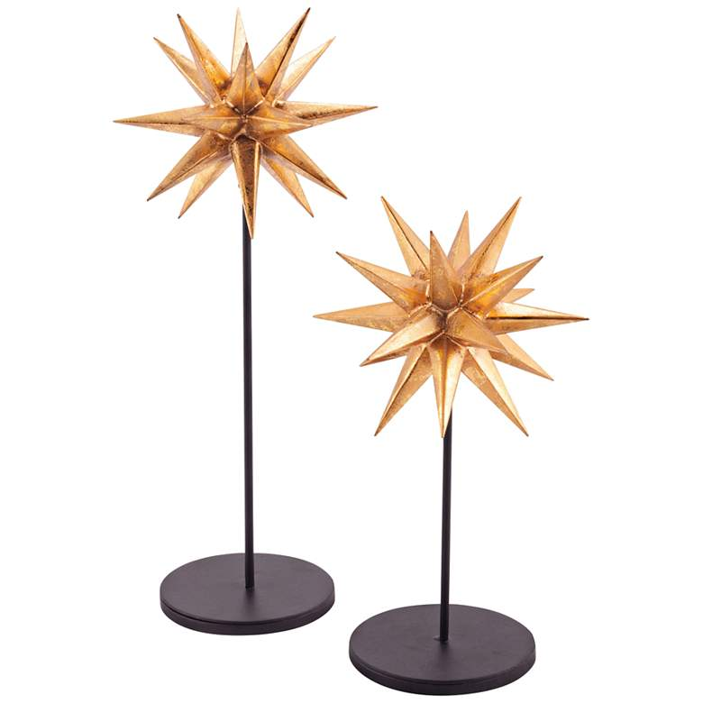 Sparkle Black and Gold Table Starbursts - Set of 2