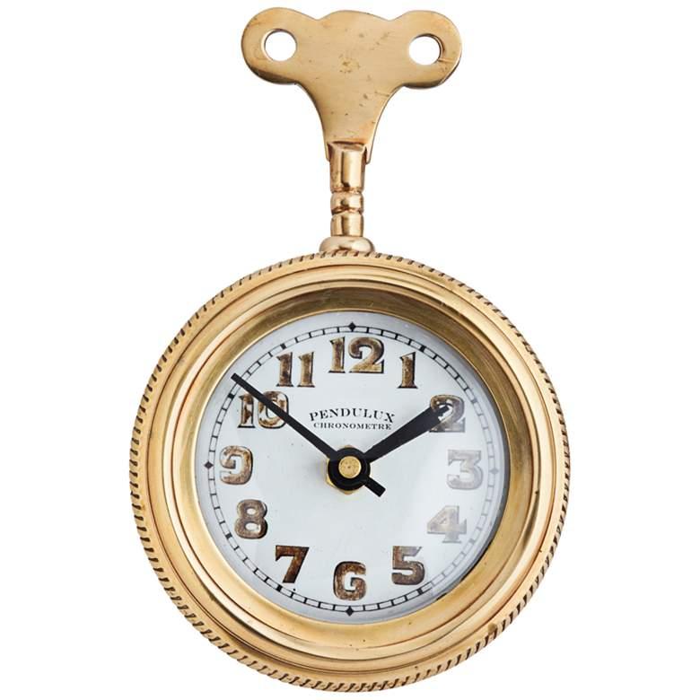 "Mouse 12 1/2""H Antique Brass Locomotive Retro Table Clock"