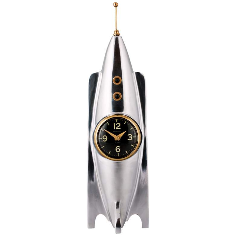 "Rocket 16 1/2""H Polished Aluminum Space Age Table Clock"