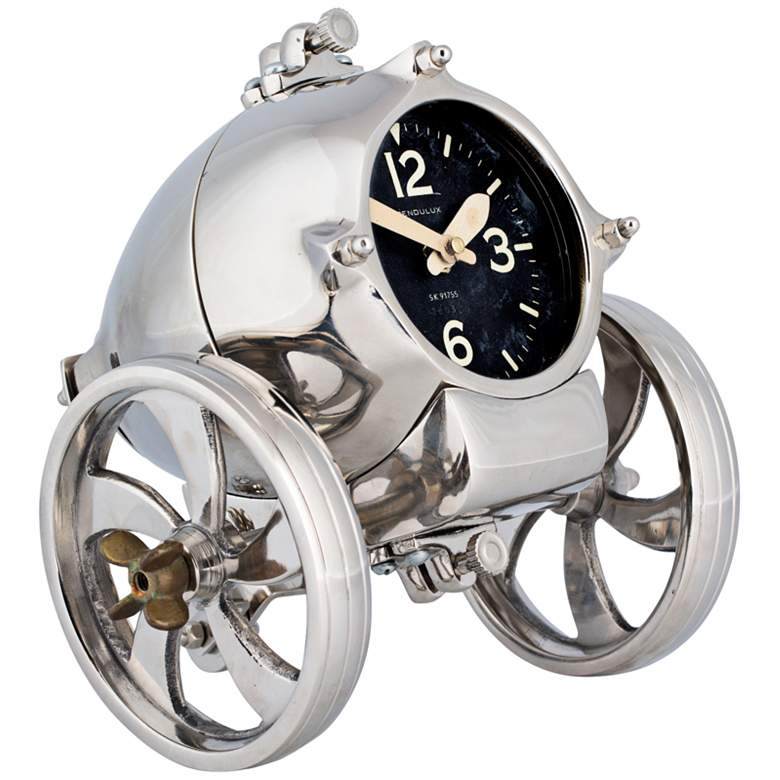 """Rover 8"""" Wide Polished Steam Age Industrial Table Clock"""