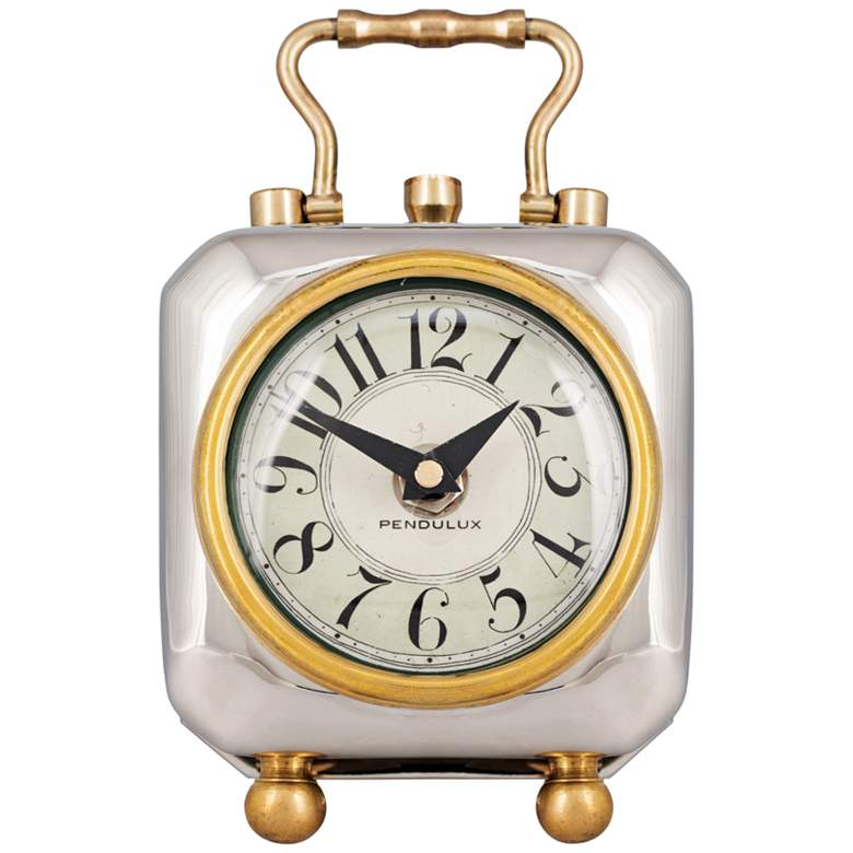 "Tyler 6"" High Nickel-Plate 1910 Luxury Hotel Table Clock"